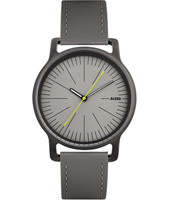 Frederic Gooris 40mm watch in steel with grey leather strap, grey dial