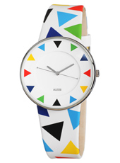Luna By Alessandro Mendini 36mm White Design Watch With Harlequin Decoration