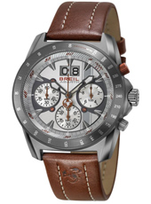 Abarth Chrono Silver gent's chrono with date display and brown leather strap