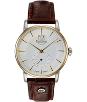 Atrium  38.50mm Steel, Gold & White Watch with Big Date & Small Second on Brown Strap
