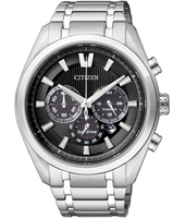 Titanium Eco-Drive 43mm Silver & Black Titanium Chrono with Date