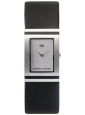 22mm Square Steel Watch on Black leather Strap