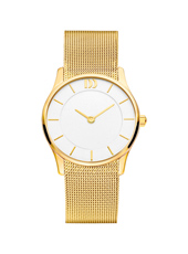29mm Gold & White Ladies watch on a Mesh Strap