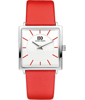 26.50mm Square Ladies Watch on Red Leather Strap