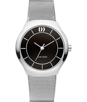 30mm Silver ladies watch with black dial