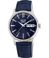 davis2092 Gregory 39mm Silver & blue quartz watch with day-date