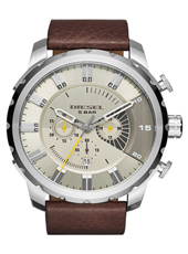 Stronghold  51mm Steel chronograph with date on brown leather strap