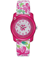 Tropical flowers Pink girls watch with flower print