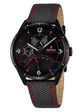 41mm Black multifunction watch with black textile strap