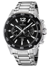 47mm Silver & Black Sports Chronograph Watch