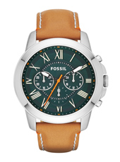 Grant  44mm Steel & Green Chrono on Tan Leather Strap