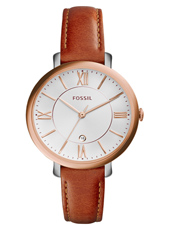 Jacqueline 36mm Rose ladies watch on brown leather strap