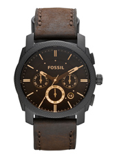 Machine  42mm Brown & Black Chrono with Date, leather strap