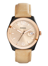 Perfect Boyfriend 39mm Gold ladies watch with date bubble and beige leather strap