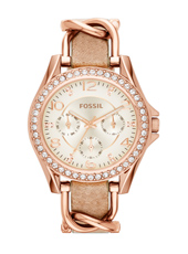 Riley 38mm Rose Gold Ladies watch with a combined leather-metal bracelet