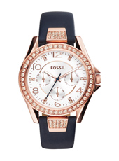 Riley 38mm Rose gold ladies watch with dark blue leather strap