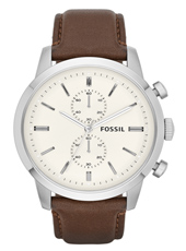 Townsman  48mm Large Classic Steel & Beige Chrono. Brown Leather Strap