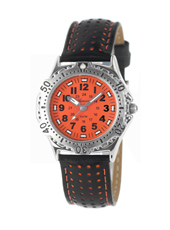 Boy Scuba  Steel & Orange Diver Style Kids Watch with Leather Strap