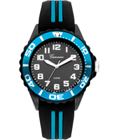 Water Sport Black & Metallic Blue Children's Watch