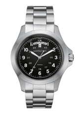 Field King  40mm Steel & Black Day/Date Quartz Watch