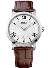 Gentleman 42mm Classic silver gent's watch with date display and brown leather strap