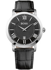Gentleman 42mm Classic silver gent's watch with date display and black leather strap