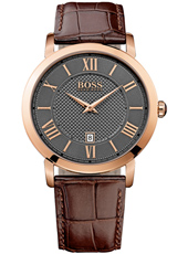 Gentleman 42mm Classic rose gold gent's watch with date display and brown leather strap