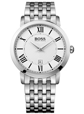 Gentleman 42mm Classic silver gent's watch with date display and steel bracelet