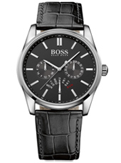 Heritage Sporty chic gent's watch with black leather strap