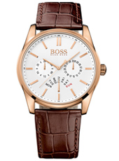 Heritage Rose gold gent's watch with brown leather strap