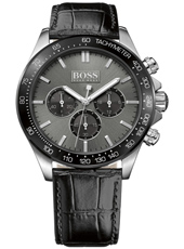 Ikon 44mm Silver gent's chrono with black leather strap