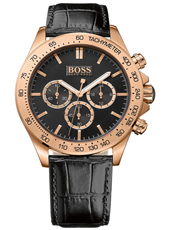 Ikon 44mm Rose gold gent's chrono with black leather strap