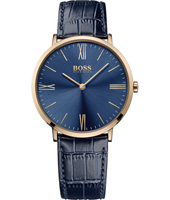 1513371 Jackson Slim Ultra 40mm Blue & rose gold watch with leather strap