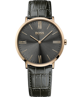1513372 Jackson Slim Ultra 40mm Black & rose gold watch with leather strap