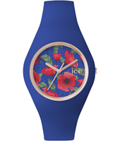 Ice-Flower Royal Rose gold watch with blue silicone strap