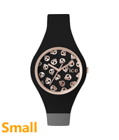 Ice-Skull Rose gold watch with skull dial and silicone strap