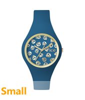Ice-Skull Gold watch with skull dial and blue silicone strap