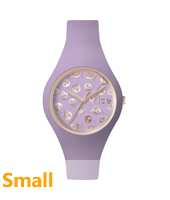 Ice-Skull Gold watch with lilac silicone strap
