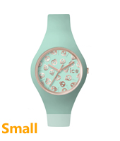 Ice-Skull Rose gold watch with skull dial and turquoise silicone strap