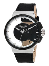 Gents Transparency See through gent's watch with black leather/textile strap