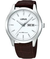 40mm Silver gents watch with brown leather strap