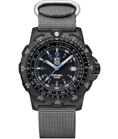 Recon Point Man 45mm Black Carbon Watch with Date & Unidirectional Bezel on Grey NATO Strap