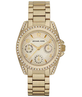 Blair Mini Gold Multifunction Watch with Crystals