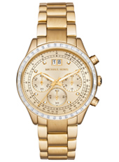 Brinkley 40mm Gold ladies chronograph with crystals and steel bracelet