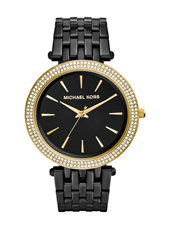 Darci 39mm Black & Gold Ladies Watch with Crystals