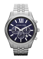 Lexington Big 45mm Silver & Dark Blue Chrono Watch