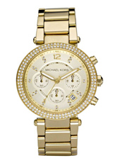 Parker 39mm Gold ladies chrono with crystals