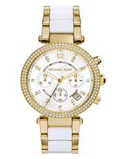 MK6119 Parker 39mm Gold & White Ladies Chronograph with Crystals
