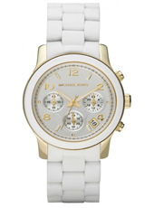 MK5145 Runway Mid 38mm White & Gold Lady Chrono Watch