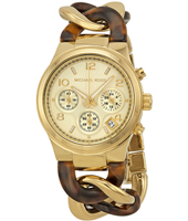 Runway Twist Gold ladies chrono with a fashionable bracelet of mixed materials